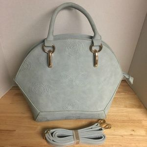 Uniquely Shaped light Blue Vegan Embossed Leather
